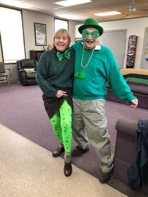 couple dressed in green